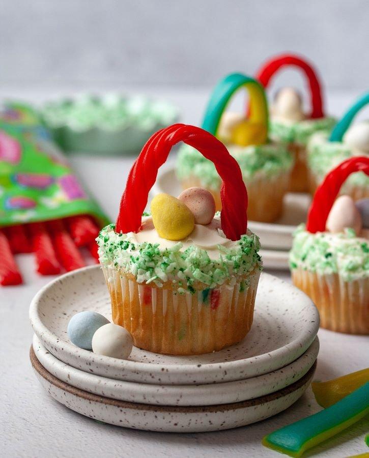 Red Vines Easter Basket Cupcakes